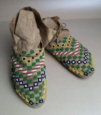 Wonderful Antique Sioux (Dakota/ Lakota) Beaded Moccasins, ca. 1890s