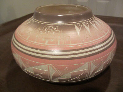 Comtemporary Native American Indian South Western Horzoni Pottery Signed Artist