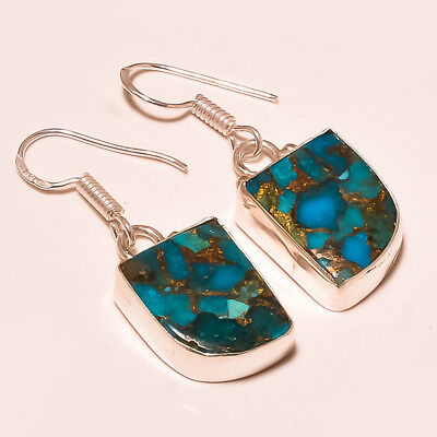 Blue Copper Turquoise Gemstone 925 Silver Plated Earring