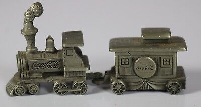 Coca Cola Pewter Train Engine and Caboose