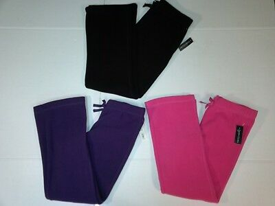 Girls Fleece Bootcut Pants with Bow Detail Pink Black M 7-8 NEW