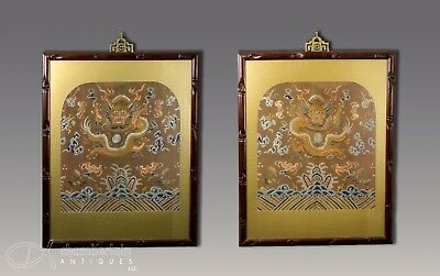 Two Large Old Antique Chinese Framed Textiles With Dragons