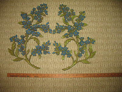 Syroco Wall Hanging Vintage Blue Dogwood Flower 2 Pieces Art Mid-Century