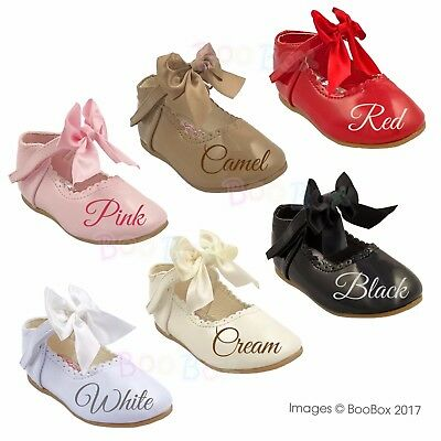 Baby Girls Patent Spanish Bow Front Mary Jane Walking Shoes UK Sizes 1-6