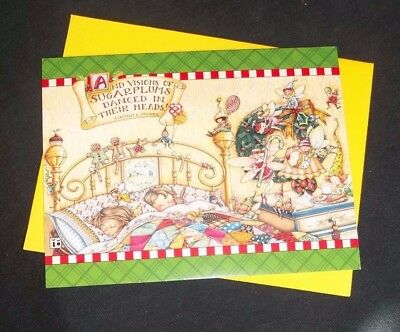 Mary Engelbreit Christmas note card Children sleeping-glitter accented