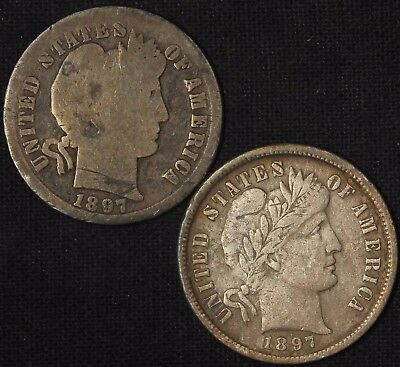1897 and 1897-S Barber Dimes - Free Shipping USA