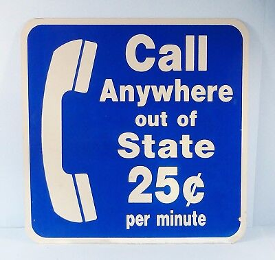 """Vintage~Two Sided Telephone """"Call Anywhere Out Of State"""" Michigan Rest Stop Sign"""