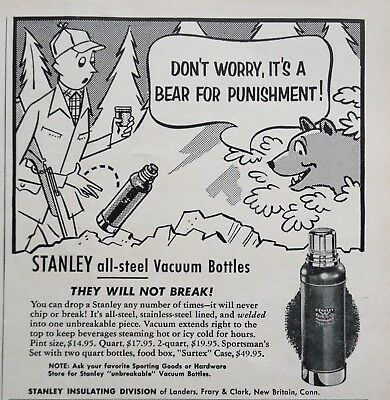 1956 Ad(Odl23)~Stanley All-Steel Vacuum Bottles, New Britain, Conn.