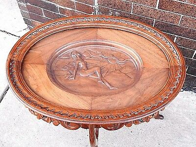 Art Deco vintage French rare Wood carved nude lady Sun Bather table w/ glass top