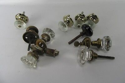 Vintage Lot of 10 Door Knobs Glass & Metal 4 Pairs Hardware