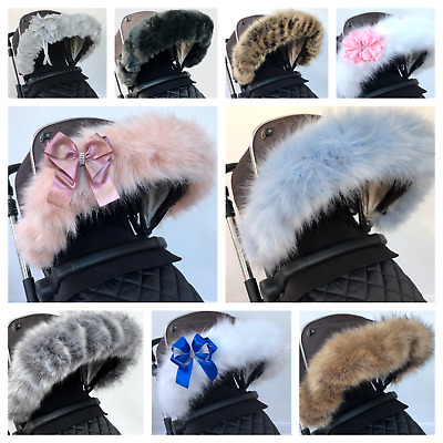 Fur pram hood trim, Pram Hood, FAST DELIVERY, universal fit prams, buggy