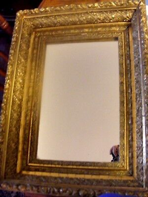 Old Antique Gilt Gold Ornate Wood Framed Mirror Victorian Baroque-Beautiful