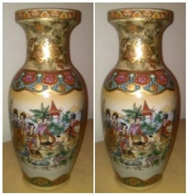 "Set of 2 Gorgeous Vintage Oriental Vases - Over 12"" Tall - N.O.S. Gold Satsuma"