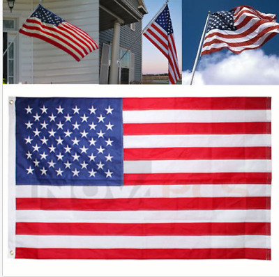American Embroidered Flag 3'x5' FT USA US U.S. Sewn Stripes Stars Brass Grommets