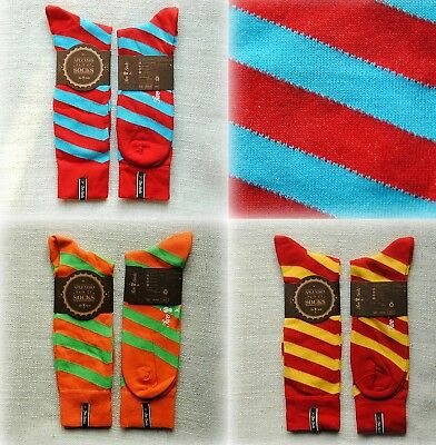 "NEW LUXURY UNISEX Striped Socks from ""Two Socks""  Medium and Large sizes"