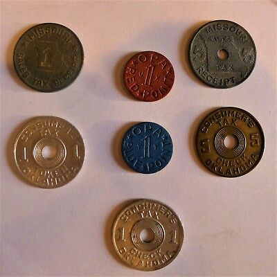 Lot of 7 Vintage Sales Tax Tokens-OPA Blue & Red Point-Oklahoma-Missouri