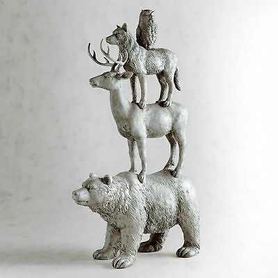 """Pier 1 Stacked Winter Woodland Animals Sculpture 22"""" Owl, Bear, Stag Wolf NWT"""