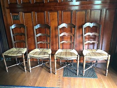 Set Of 4 Antique Country French Ladder Back Dining Chairs With Rush Seats  1700s