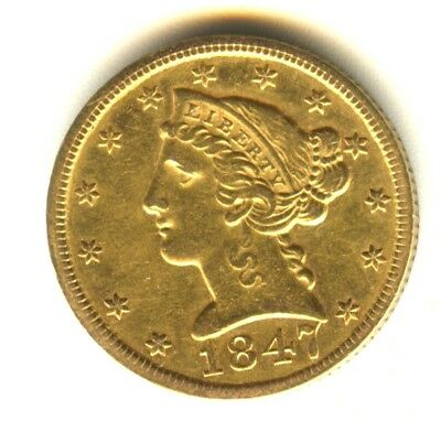 1847 P $5 Gold Piece AU Details In Grade Liberty Half Eagle No Motto Scarce Gold