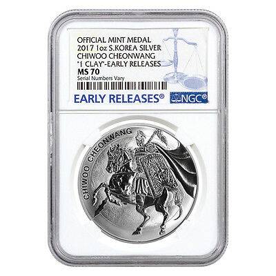 2017 1 oz South Korea Silver Chiwoo Cheonwang NGC MS 70 Early Releases