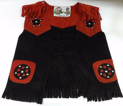 PONY RANCH VEST Suede Western Fringe Stars COW BOY COW GIRL Red Black Larger Sz