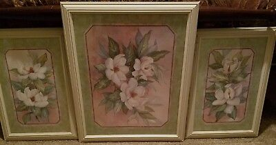 Home Interior Floral Wall Pictures (Set of 3) - Lightly Used