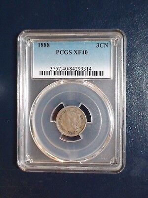 RARE 1888 Three Cent Nickel PCGS XF40 LOW MINTAGE GEM 3CN Coin PRICED TO SELL!