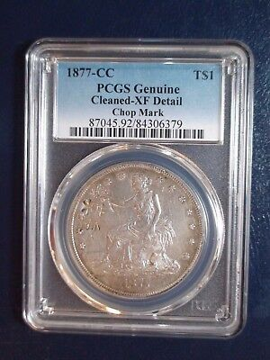 1877 CC TRADE DOLLAR PCGS XF CARSON CITY CHOP MARK $1 Coin PRICED TO SELL NOW!