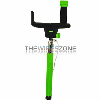 iPhone Android Retractable Green Selfie Handheld Monopod Stick w/ Shutter Button