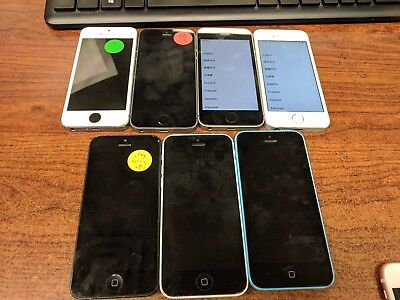 iPhoone 5s/5c/5 lot of 7 for parts - cracked - various carriers