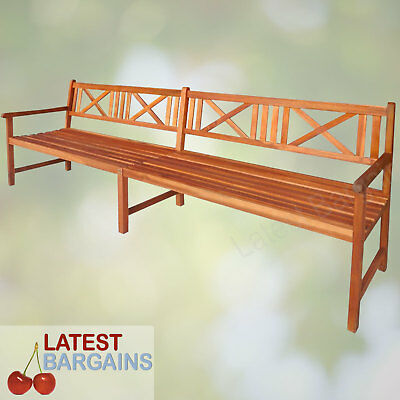 Outdoor Wooden Garden Park Bench Seat Long Timber Patio Chair 4 Seater