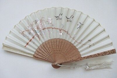 Antique Chinese Carved Sandal Wood Hand Embroidered Silk Fan w/ Org Lacquer Box