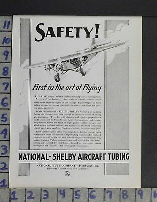 1930 Aviation Aircraft Plane Pilot National Shelby Tubing Safety Ad Zo62