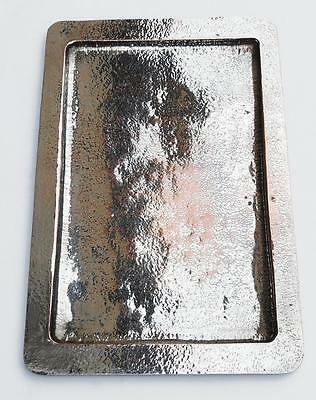 STUNNING LARGE ARTS AND CRAFTS HAMMERED SILVERED COPPER TRAY c1900