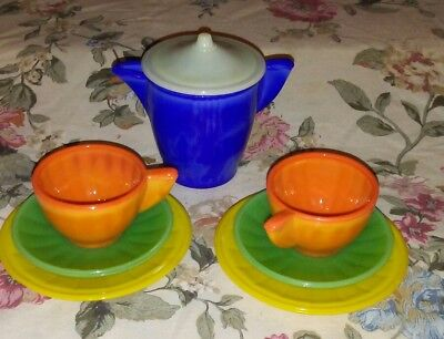Vintage AKRO AGATE 8 Piece Playtime Tea Set Childrens Dish Set TEA FOR 2 org box