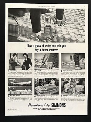 1947 Vintage Print Ad BEAUTYREST BY SIMMONS Bed 40's Image Springs Design