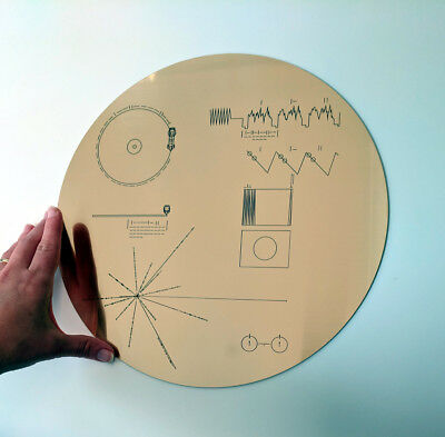 Full size replica of NASA Voyager Golden Record, laser etched on golden laminate