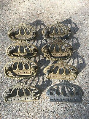 Set Of Eight Antique Solid Brass Drawer Pulls