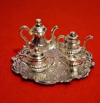 Miniature Sterling Silver Tray Cini with Tea Set Dollhouse 1:12