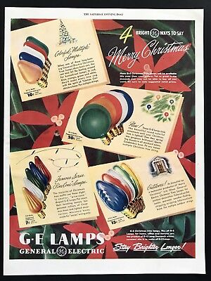 1947 Vintage Print Ad G.E. General Electric Bulbs Lamps Light Christmas Holiday