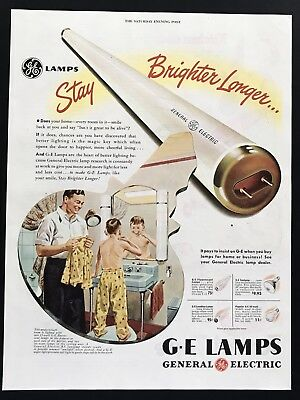 1947 Vintage Print Ad G.E. General Electric Bulbs Lamps Light Fluorescent Tube