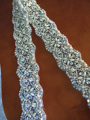 "18"" long Wedding Bridal Sash Belt, Crystal Pearl Wedding Dress Sash Belt"