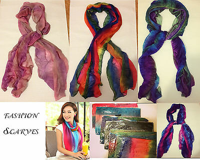 Wholesale 6 LOT Polyester Rain Bow Mix Color Women scarves