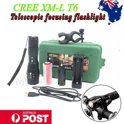 10000lm CREE XML T6 LED Flashlight 18650 Rechargeable Battery USB Zoomable Torch