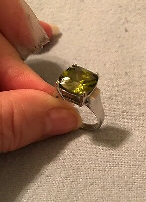 Large Light Green Stone In Silver Tone Ring- Vintage