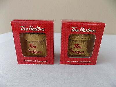 TWO New-In-Box Tim Hortons 2016 Coffee Bag Christmas Tree Ornaments