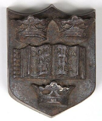 Antique Heavy Cast Iron  OXFORD University Coat of Arms Paperweight
