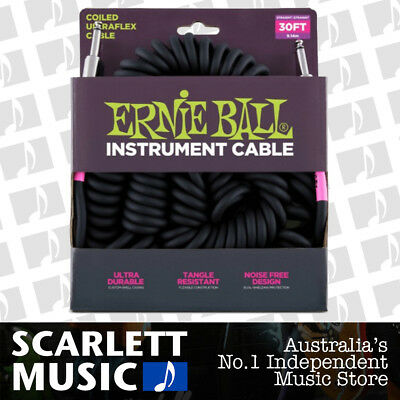 Ernie Ball Ultraflex 30ft (10m) Black Ultra-Flex Coiled Instrument Lead Cable