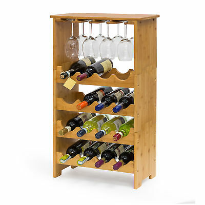 Bamboo Wine Rack for 16 Bottles & 12 Wine Glasses, Wine Stand Cabinet 84x50x24cm