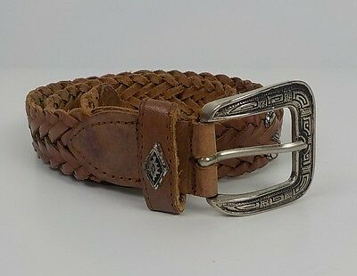 """Western Leather Belt 32"""" Womens Long Silver Metal Buckle And Accents Brown"""